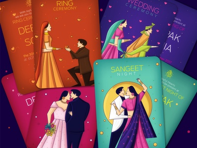 Contemporary Indian Wedding Invite Package scd balaji save the card reception invite wedding ceremony ring ceremony sangeet invite indian illustrator indian wedding invites