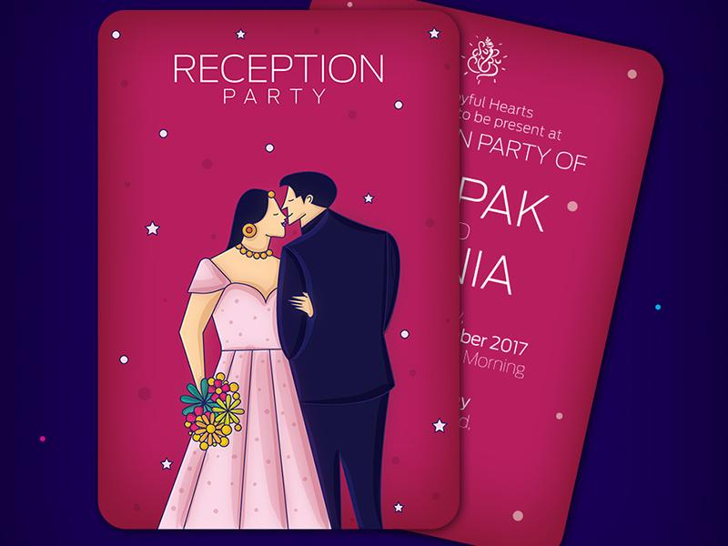 Wedding Reception Invitation bride  groom illustrated invites indian invites ring ceremony indian wedding cards indian illustrator couple love invitation reception wedding