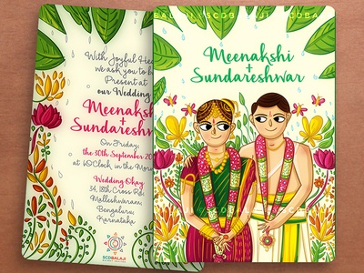 Tamil Brahmin Indian Wedding Invite Illustration and Design by SCD