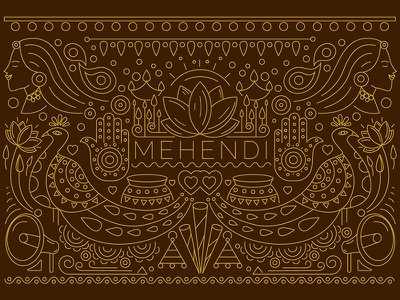 Mehendi Ceremony Invite Design & Illustration outline gold mehendi bride  groom save the date indian invites ring ceremony indian wedding cards indian illustrator wedding celebration love