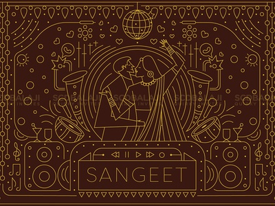 Sangeet / Cocktail Wedding Party Invite Illustration