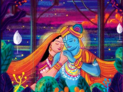 Radha Krishna Invite Illustration