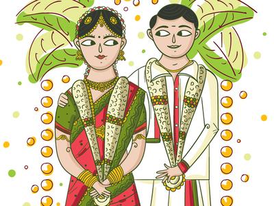 Tamil Wedding Invitation Illustration by SCD Balaji Dribbble