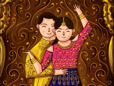 Indian Wedding - Sangeet Invitation Illustration mehendi music dance sherwani lehenga gold desi couple indian illustrator invitation design illustration