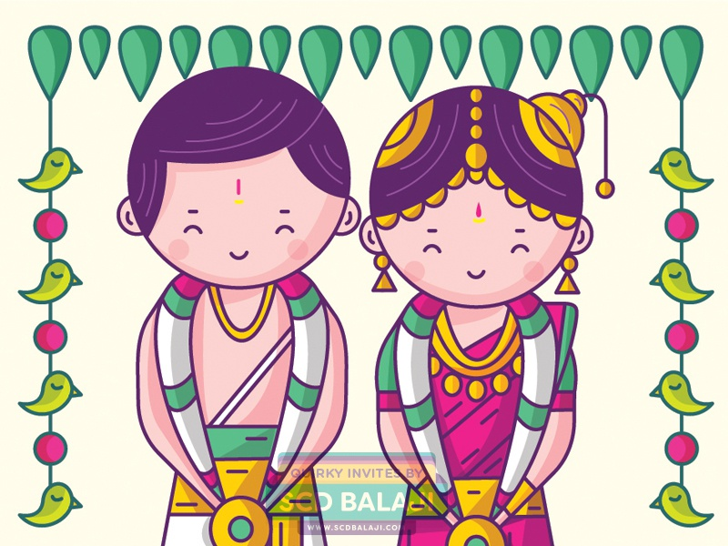 Tamil Brahmin (Iyengar) Wedding Invitation iconography vector illustration illustration decor southindia kalyanam tamilnadu groom bride couple wedding