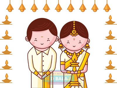 Kerala Wedding Invitation Illustration save the date tradition icon iconography vector illustration indian groom bride cute couple wedding kerala