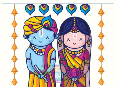 Radha Krishna Wedding Invitation