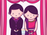 Indian Wedding Reception Invitation Illustration