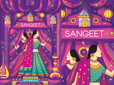Sangeet Night Invitation Illustration save the date card creative wedding invitation indian illustrator scd balaji decor morocco wedding bride illustration invitation night sangeet
