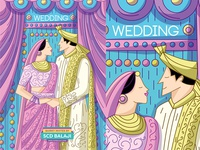 Indian Wedding Invitation Illustration
