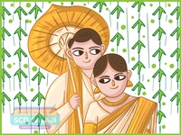 Kerala Christian Wedding Invitation Illustration