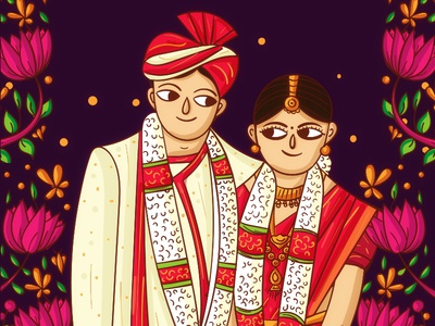 Mangalore Wedding Invitation Illustration