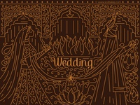 Gold Outline Indian Wedding Invitation