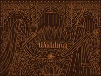 Gold Outline Indian Wedding Invitation
