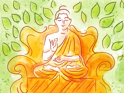 Buddha in Digital Watercolor