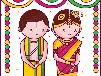 Tamil Iyengar Wedding Illustration