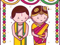 Tamil Iyengar Wedding Illustration