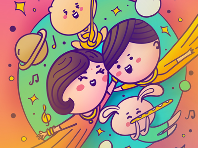 Indian Sangeet Kawaii Illustration