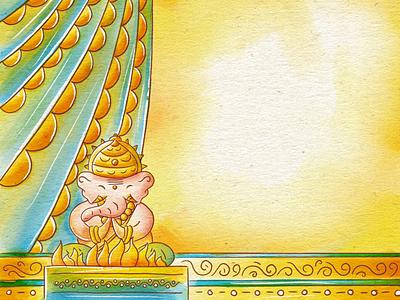 Ganesha Wedding Invitations Illustration in Procreate scd balaji wedding card digital painting dribble suite quirky procreate illustration invitation wedding god