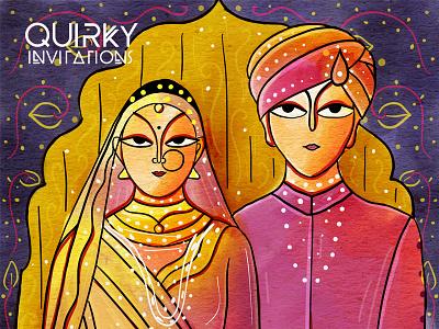Neo Patua Wedding Invitation Suite - Bengal Patua einvitation einvite save the date illustration couple bride scd balaji indian illustrator indian wedding invitation indian folk art bengal patua