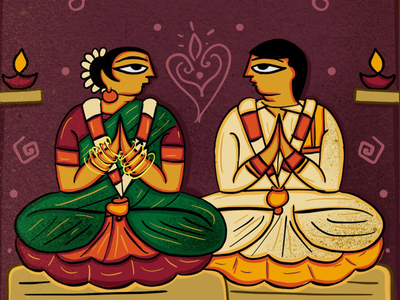 Neo Patua Tamil Wedding Invitation by SCD Balaji scd balaji neo patua indian folk art 365 indian illustrator indian folk art bengal patua quirky invitations