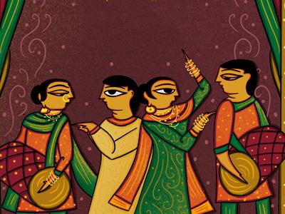 Indian Bengal Patua Inspired Sangeet Invitation wedding einvitation einvite procreate celebration indian illustrator indian folk art artpreneur indian folk art 365 neo patua bengal patua sangeet indian scdbalaji