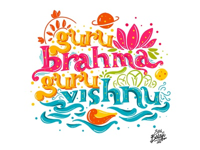 Hand Lettered Guru Brahma Guru Vishnu typography vishnu brahma mythology hindu indian scd balaji indian illustrator