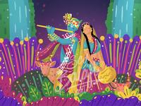 Radha Krishna at Vrindavan Wedding Invitation