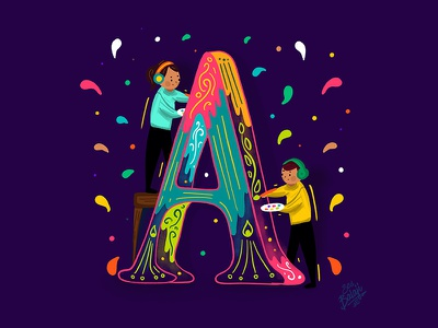 A - Artists | 36 Days of Creative Beings 36daysoftype illustrators painters creative lettering artist india tamilnadu coimbatore procreate drop caps illustrative lettering lettering typography 36daysoftype-06 indian illustrator scd balaji