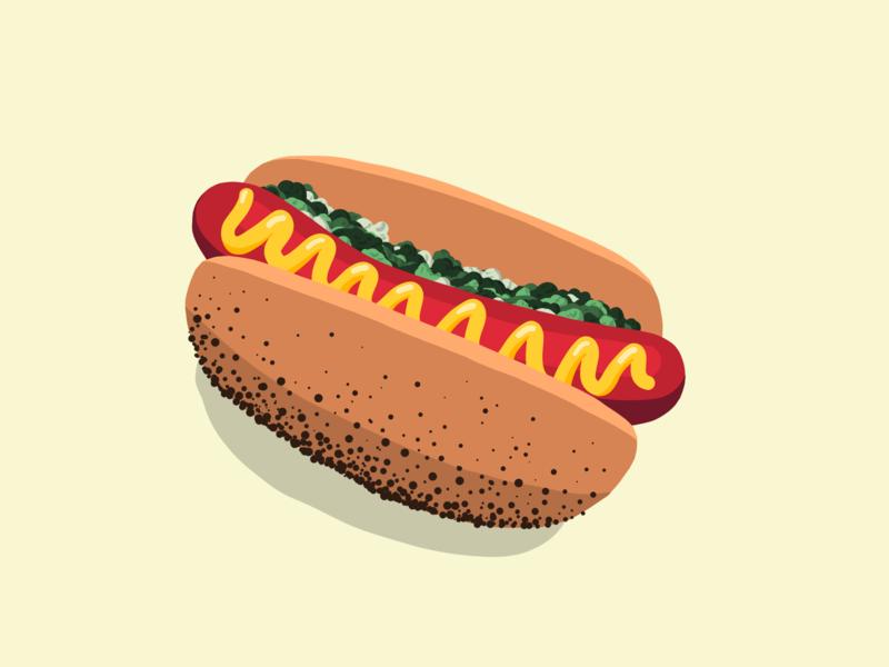 Hot Dog hot dogs mustard chicago ipad pro ipad illustration hot dog