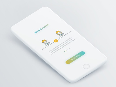 Onboarding Screen minimalistic blue yellow color modern clean design app mobile page screen onboarding