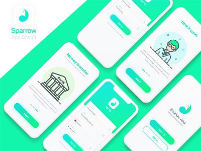 Sparrow App design transfer wallet money design app mobile creative modern sparrow clean