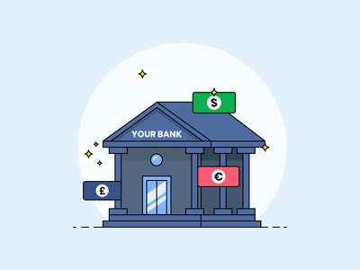 Bank Icon flat stars yellow green pink blue illustration design bank icon