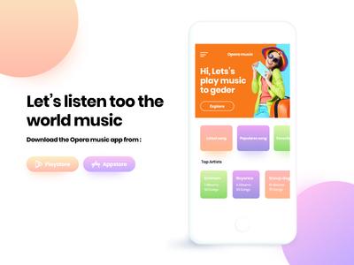Opera Music App colorful modern creative graphic ui design app music