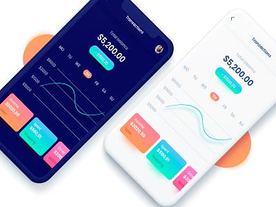 Wallet App dark light color mobile design ux ui wallet money app