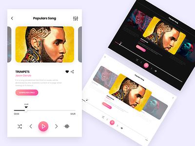 Music App color player music ux app design 2d ui