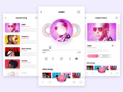 Mobile Music App color 2d design app mobile ux ui