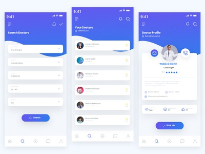 Doctofind App ui profile navigation medical map ios health doctor comments assistant app