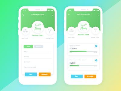Credit Simulation logo app ios simulator money sketch app adobe xd web deisgn 2d design bank app mobile app design ux ui