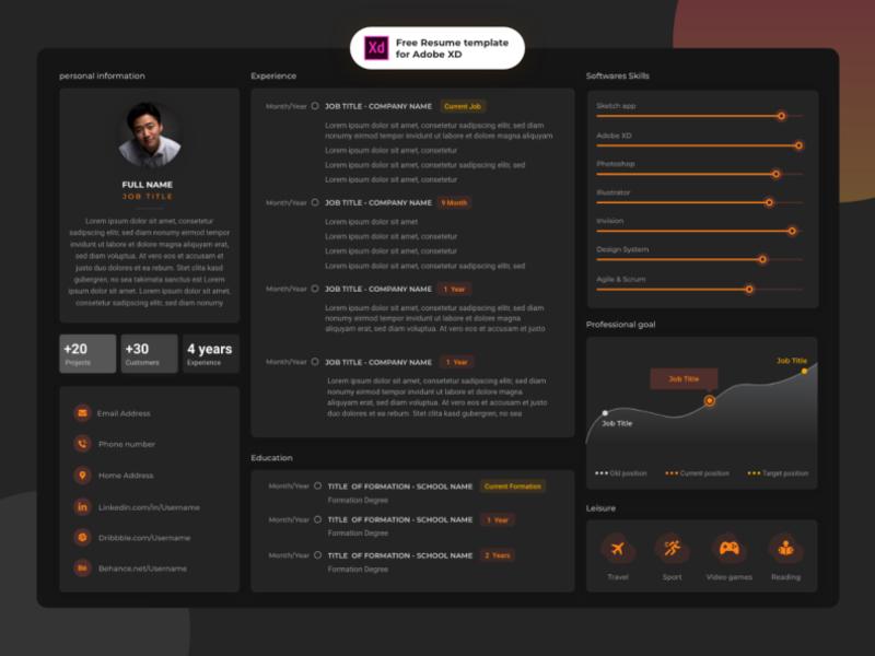 Free Adobe Xd Resume By Oussama Majid On Dribbble