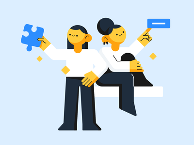 Little people team puzzle button vector girl people minimal man woman person sketch web design flat illustration
