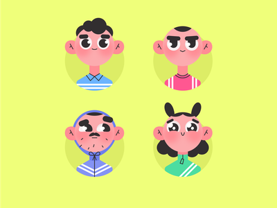 Avatars for team character team face avatar vector man people girl woman person sketch design flat illustration
