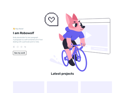 Cyclist dog video ui vector character person sketch web design flat illustration