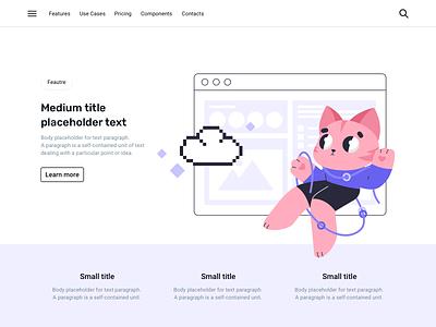 Cat and tasks interface pixel cloud tasks cat ui vector person sketch web design flat illustration