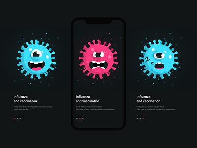 Virus influenza happy angry sleep vaccianation covid virus ui vector person sketch web design flat illustration