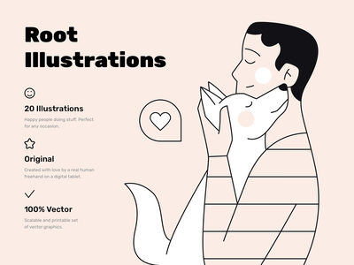 Root Illustrations love dog ui vector man people person sketch web design flat illustration