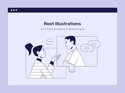 Conversation product ui window bubble dialog vector man girl woman person sketch web design flat illustration