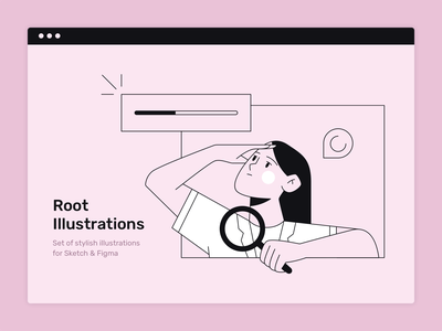Loading wait download search ui vector girl woman person sketch web design flat illustration