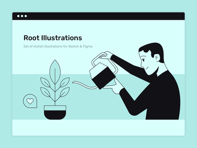 Man and plant watering can plant boy man person sketch web design flat illustration