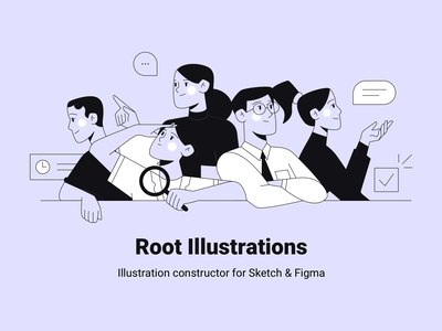 Root Illustrations product figma constructor character ui vector people man girl woman person sketch web design flat illustration